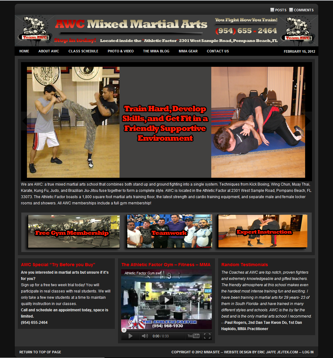 AWC MMA School website in Pompano Beach Florida